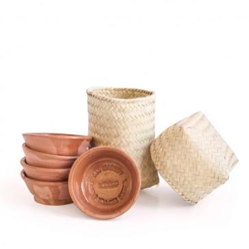 Del Maguey Schalen - 6 Stück und 1 Palmblätter-Korb